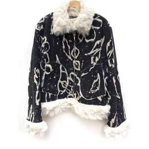 Kocca Abstract Print Corduroy Faux Fur Trim Coat